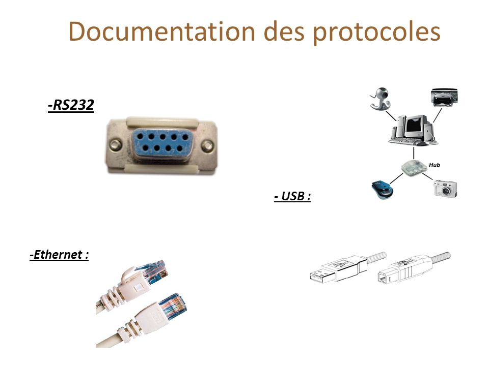 Documentation des protocoles -RS232 - USB : -Ethernet :