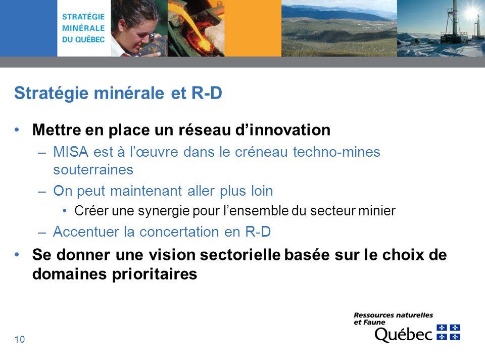 10 Stratégie minérale et R-D Mettre en place un réseau dinnovation –MISA est à lœuvre dans le créneau techno-mines souterraines –On peut maintenant al