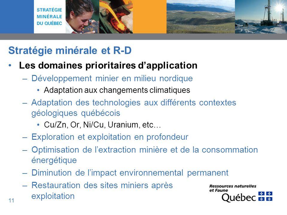 11 Stratégie minérale et R-D Les domaines prioritaires dapplication –Développement minier en milieu nordique Adaptation aux changements climatiques –A