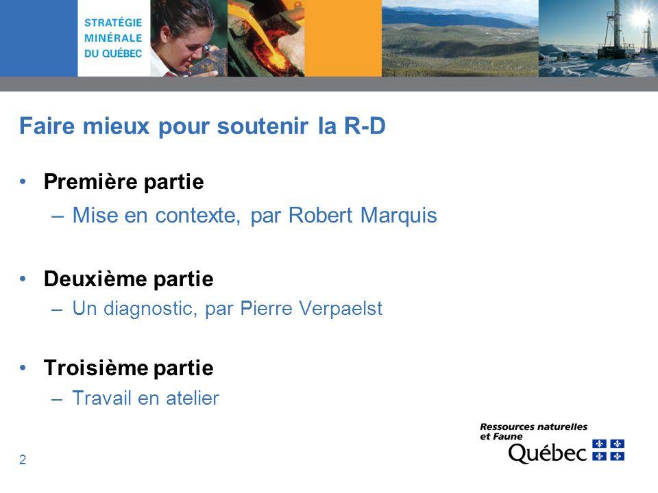 2 Faire mieux pour soutenir la R-D Première partie –Mise en contexte, par Robert Marquis Deuxième partie –Un diagnostic, par Pierre Verpaelst Troisièm