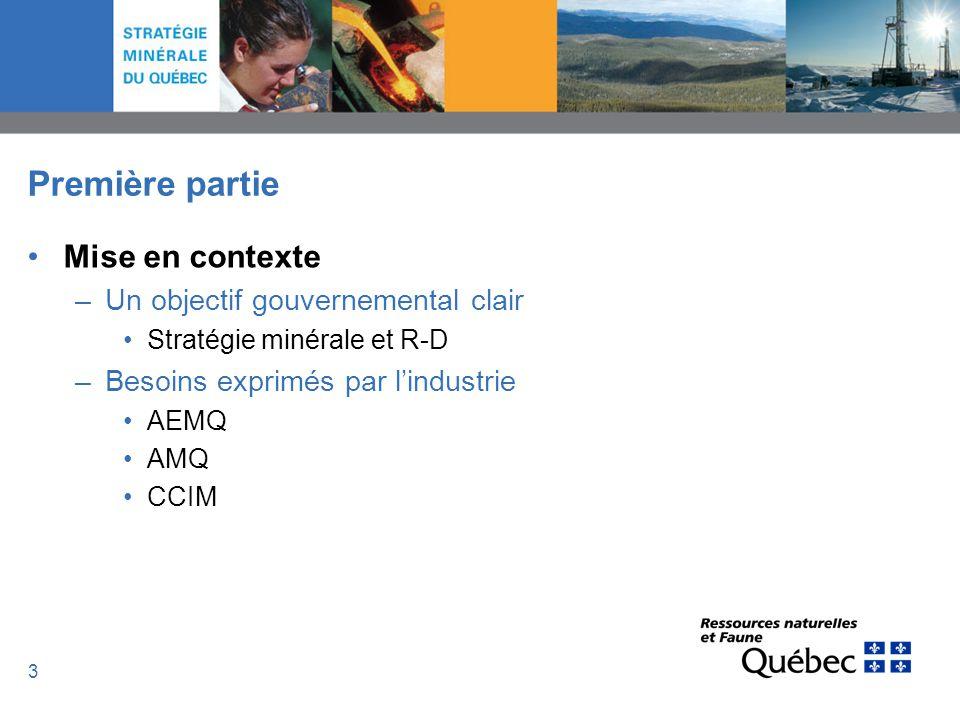 4 Stratégie minérale et R-D Accorder un soutien financier stable à des organismes en innovation –En relation directe avec limportance quil accorde à laugmentation de la R-D industrielle, le gouvernement du Québec reconnaît limportance dappuyer les partenariats de recherche avec le secteur privé et le milieu universitaire et institutionnel… p.22
