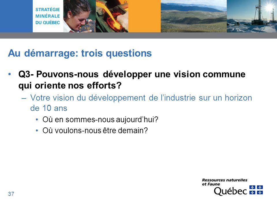 37 Au démarrage: trois questions Q3- Pouvons-nous développer une vision commune qui oriente nos efforts? –Votre vision du développement de lindustrie