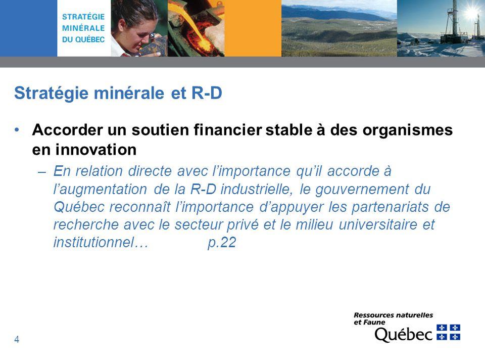 4 Stratégie minérale et R-D Accorder un soutien financier stable à des organismes en innovation –En relation directe avec limportance quil accorde à l