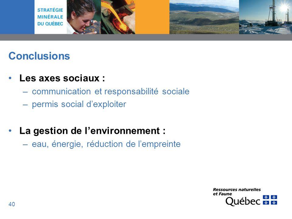 40 Conclusions Les axes sociaux : –communication et responsabilité sociale –permis social dexploiter La gestion de lenvironnement : –eau, énergie, réd