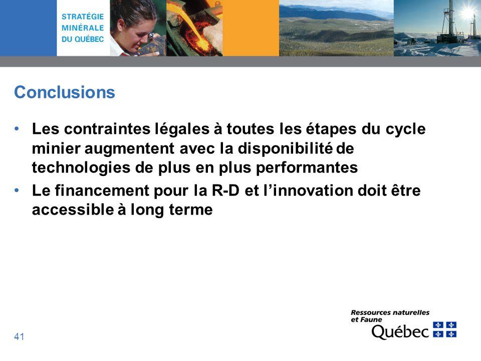 41 Conclusions Les contraintes légales à toutes les étapes du cycle minier augmentent avec la disponibilité de technologies de plus en plus performant