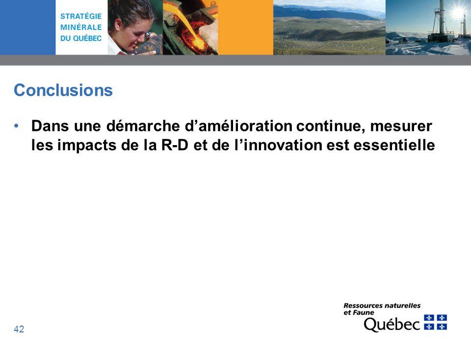 42 Conclusions Dans une démarche damélioration continue, mesurer les impacts de la R-D et de linnovation est essentielle