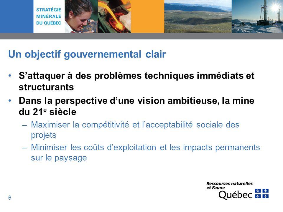 6 Un objectif gouvernemental clair Sattaquer à des problèmes techniques immédiats et structurants Dans la perspective dune vision ambitieuse, la mine
