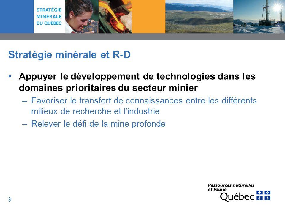 10 Stratégie minérale et R-D Mettre en place un réseau dinnovation –MISA est à lœuvre dans le créneau techno-mines souterraines –On peut maintenant aller plus loin Créer une synergie pour lensemble du secteur minier –Accentuer la concertation en R-D Se donner une vision sectorielle basée sur le choix de domaines prioritaires