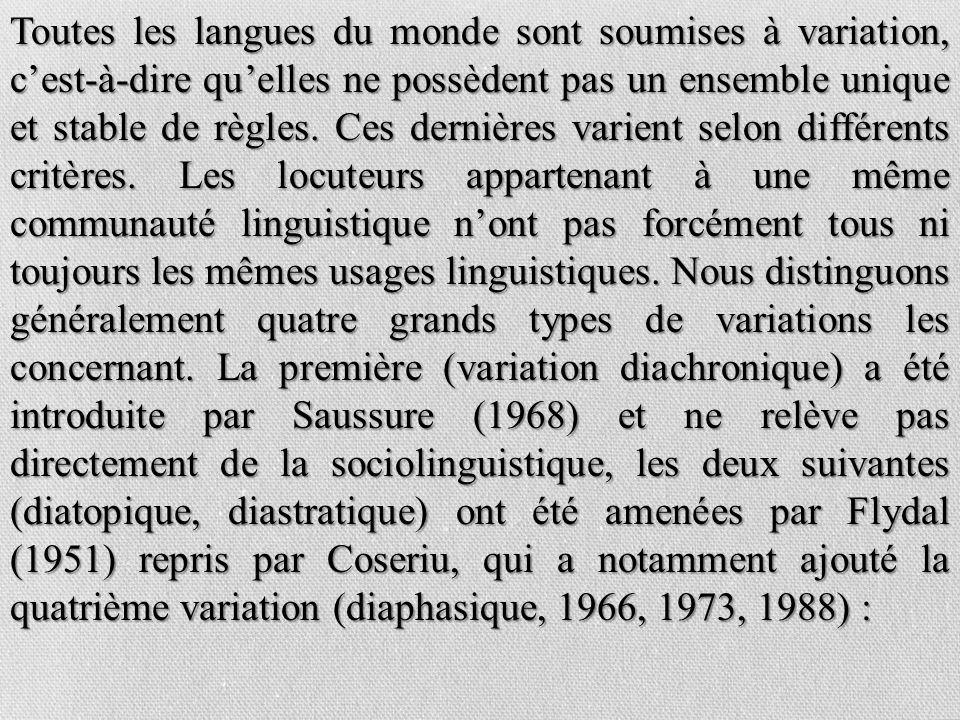 Toutes les langues du monde sont soumises à variation, cest-à-dire quelles ne possèdent pas un ensemble unique et stable de règles. Ces dernières vari