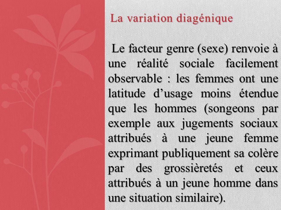 La variation diagénique Le facteur genre (sexe) renvoie à une réalité sociale facilement observable : les femmes ont une latitude dusage moins étendue
