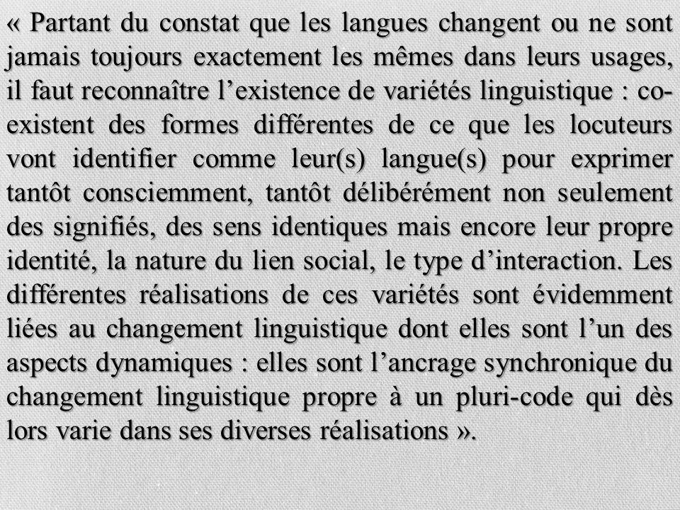 « Partant du constat que les langues changent ou ne sont jamais toujours exactement les mêmes dans leurs usages, il faut reconnaître lexistence de var