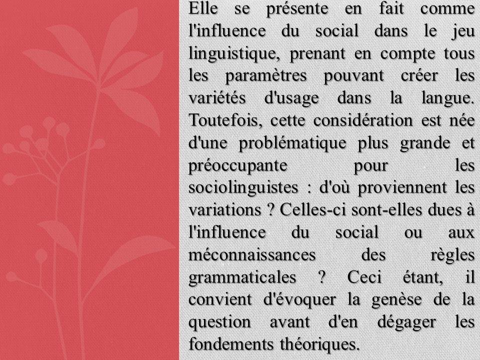 Elle se présente en fait comme l'influence du social dans le jeu linguistique, prenant en compte tous les paramètres pouvant créer les variétés d'usag