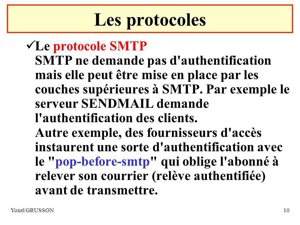 Yonel GRUSSON10 Le protocole SMTP SMTP ne demande pas d authentification mais elle peut être mise en place par les couches supérieures à SMTP.