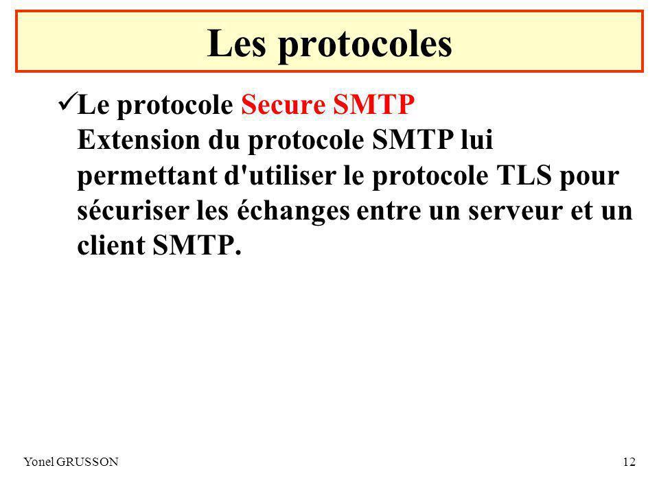 Yonel GRUSSON12 Le protocole Secure SMTP Extension du protocole SMTP lui permettant d utiliser le protocole TLS pour sécuriser les échanges entre un serveur et un client SMTP.