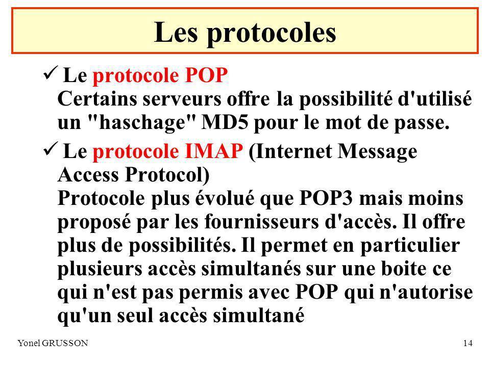 Yonel GRUSSON14 Le protocole POP Certains serveurs offre la possibilité d utilisé un haschage MD5 pour le mot de passe.