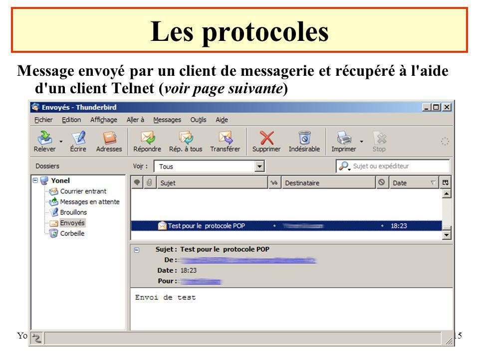 Yonel GRUSSON15 Message envoyé par un client de messagerie et récupéré à l aide d un client Telnet (voir page suivante) Les protocoles