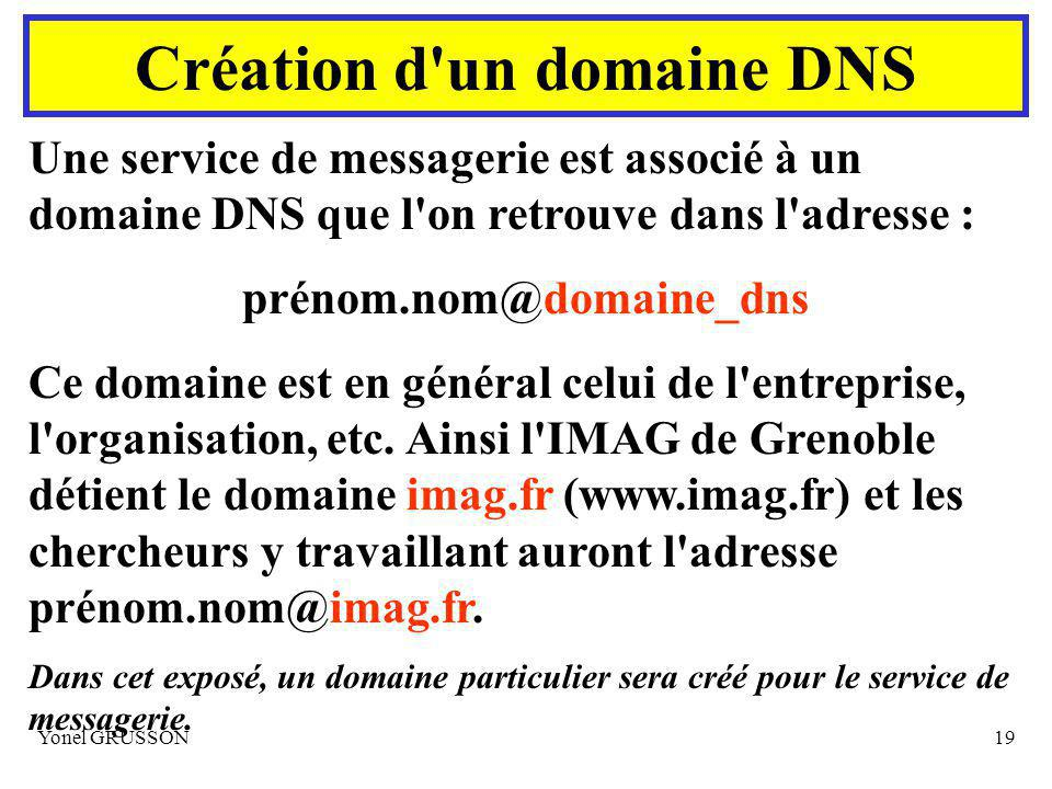 Yonel GRUSSON19 Création d un domaine DNS Une service de messagerie est associé à un domaine DNS que l on retrouve dans l adresse : prénom.nom@domaine_dns Ce domaine est en général celui de l entreprise, l organisation, etc.