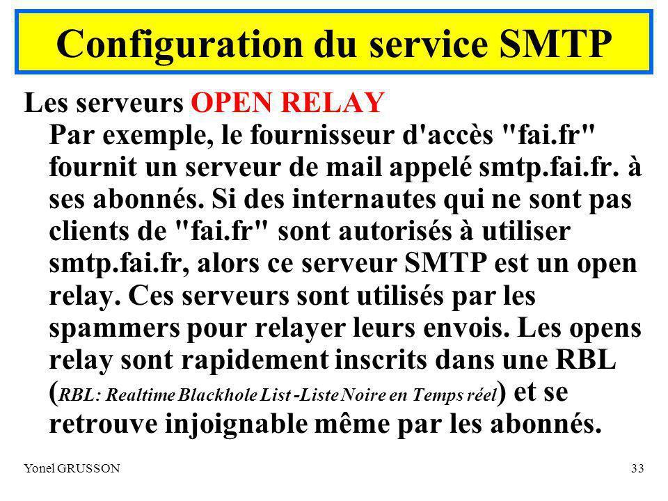 Yonel GRUSSON33 Les serveurs OPEN RELAY Par exemple, le fournisseur d accès fai.fr fournit un serveur de mail appelé smtp.fai.fr.