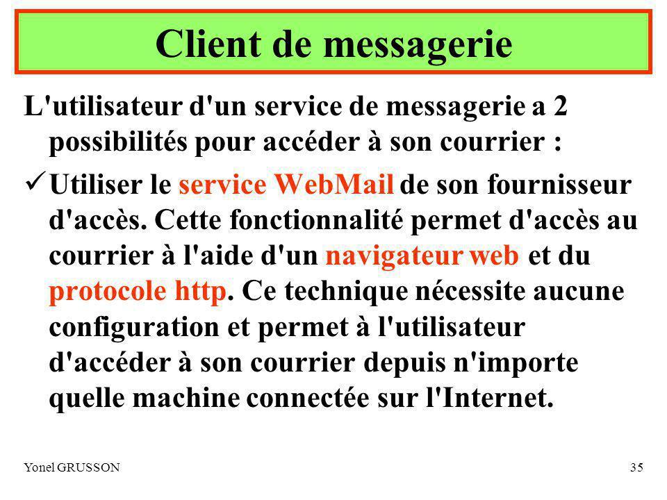 Yonel GRUSSON35 L utilisateur d un service de messagerie a 2 possibilités pour accéder à son courrier : Utiliser le service WebMail de son fournisseur d accès.