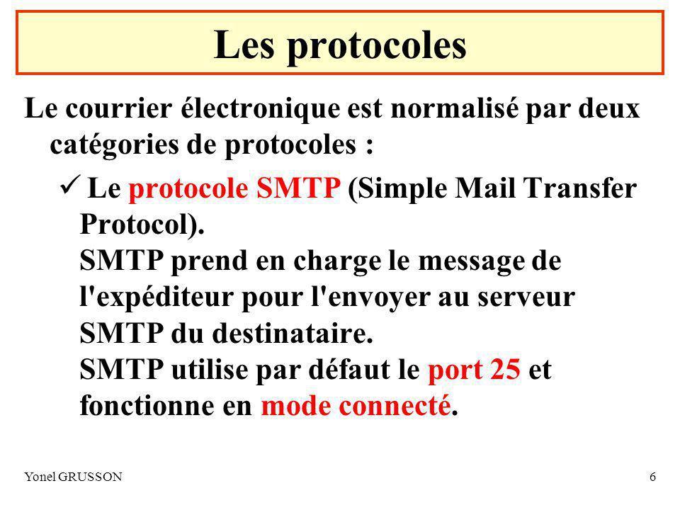 Yonel GRUSSON6 Les protocoles Le courrier électronique est normalisé par deux catégories de protocoles : Le protocole SMTP (Simple Mail Transfer Protocol).