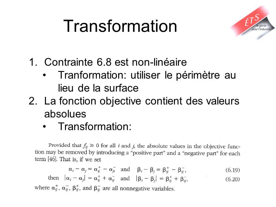 Transformation 1.Contrainte 6.8 est non-linéaire Tranformation: utiliser le périmètre au lieu de la surface 2.La fonction objective contient des valeu