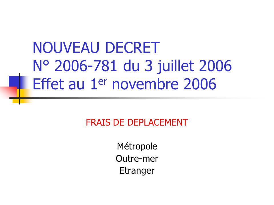 NOUVEAU DECRET N° 2006-781 du 3 juillet 2006 Effet au 1 er novembre 2006 FRAIS DE DEPLACEMENT Métropole Outre-mer Etranger