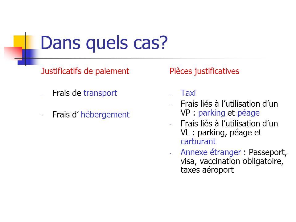 Dans quels cas? Justificatifs de paiement - Frais de transport - Frais d hébergement Pièces justificatives - Taxi - Frais liés à lutilisation dun VP :