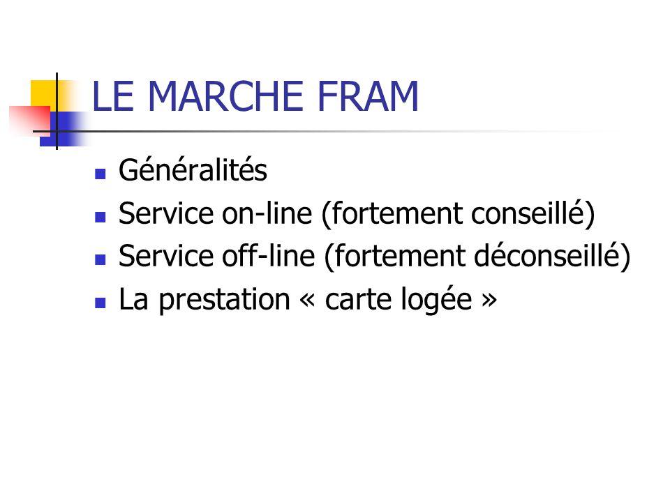 LE MARCHE FRAM Généralités Service on-line (fortement conseillé) Service off-line (fortement déconseillé) La prestation « carte logée »