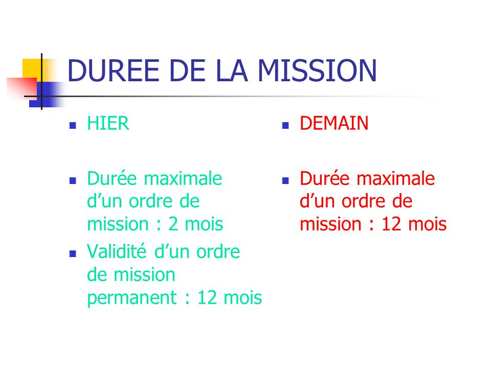 DUREE DE LA MISSION HIER Durée maximale dun ordre de mission : 2 mois Validité dun ordre de mission permanent : 12 mois DEMAIN Durée maximale dun ordr