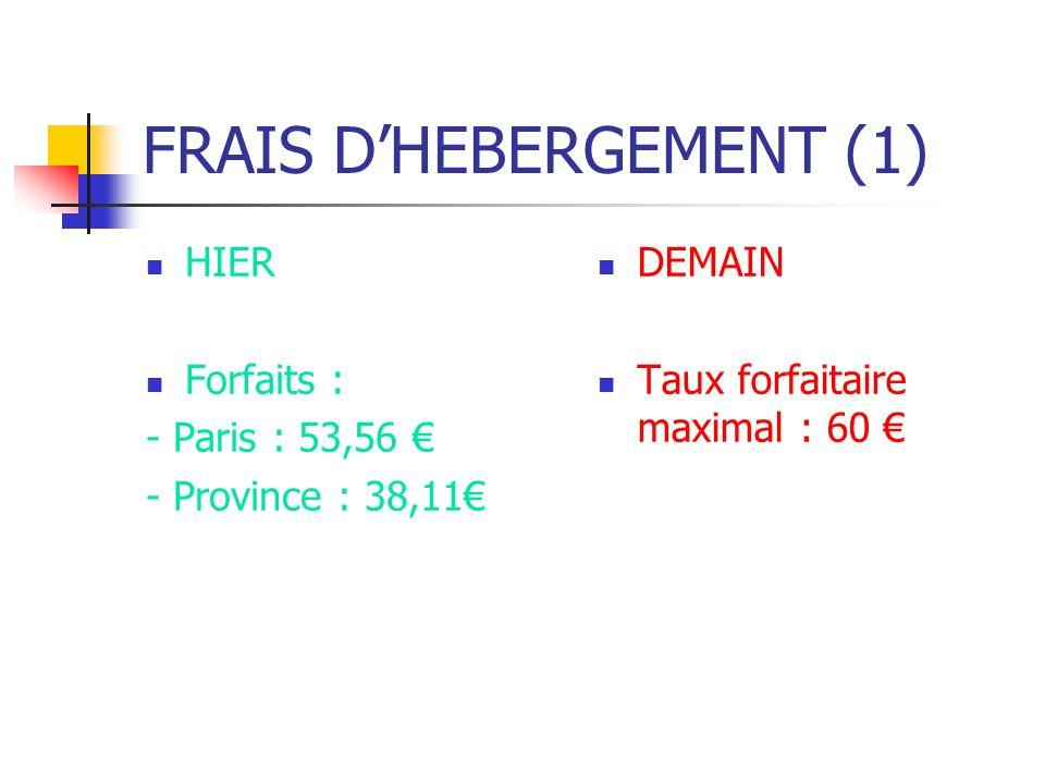 FRAIS DHEBERGEMENT (1) HIER Forfaits : - Paris : 53,56 - Province : 38,11 DEMAIN Taux forfaitaire maximal : 60