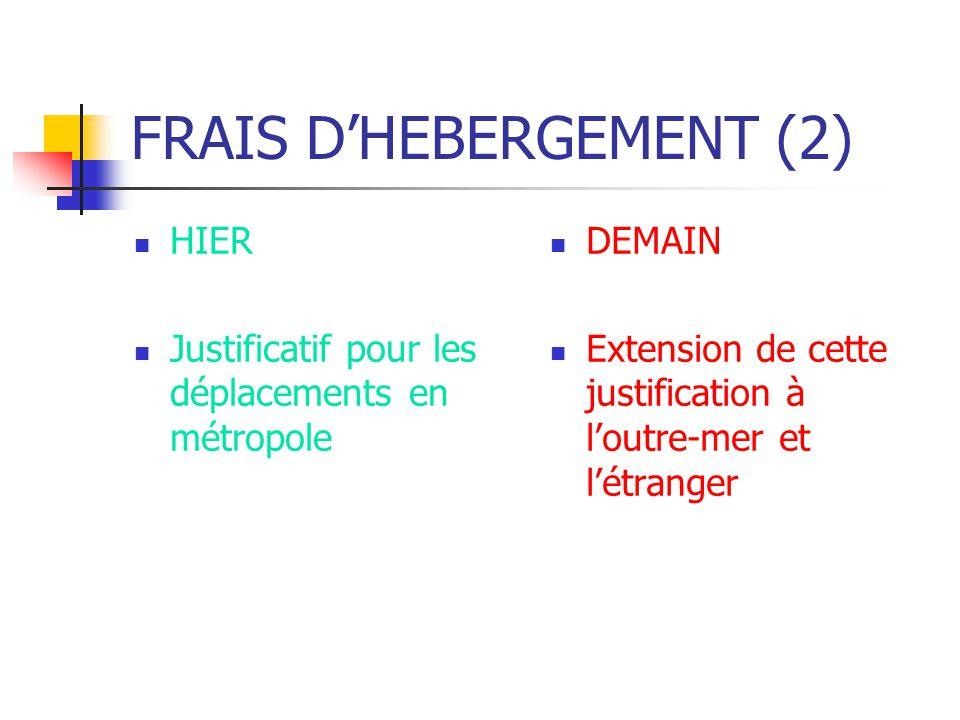 FRAIS DHEBERGEMENT (2) HIER Justificatif pour les déplacements en métropole DEMAIN Extension de cette justification à loutre-mer et létranger