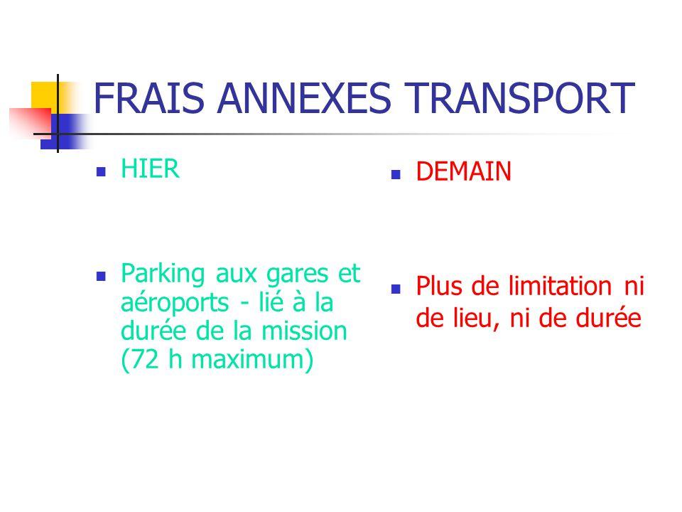 FRAIS ANNEXES TRANSPORT HIER Parking aux gares et aéroports - lié à la durée de la mission (72 h maximum) DEMAIN Plus de limitation ni de lieu, ni de
