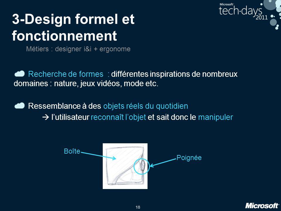 18 3-Design formel et fonctionnement Recherche de formes : différentes inspirations de nombreux domaines : nature, jeux vidéos, mode etc.