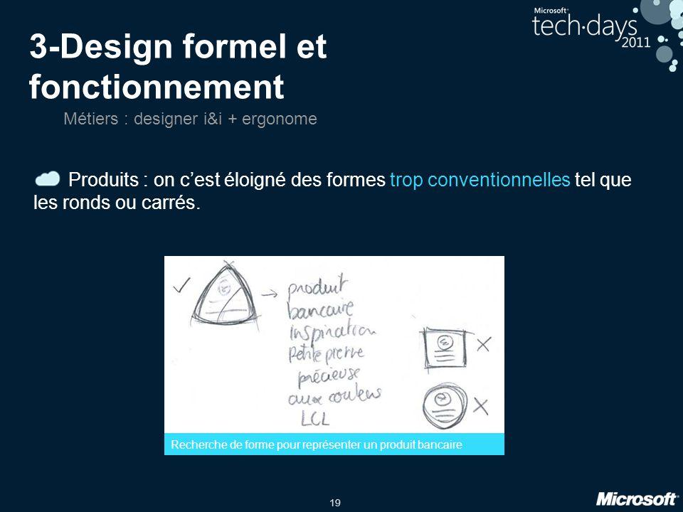 19 3-Design formel et fonctionnement Produits : on cest éloigné des formes trop conventionnelles tel que les ronds ou carrés.