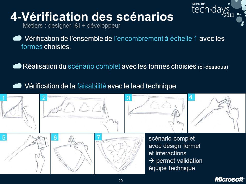 20 4-Vérification des scénarios Vérification de lensemble de lencombrement à échelle 1 avec les formes choisies.