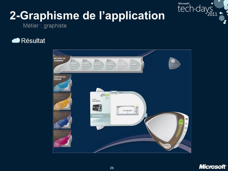 26 2-Graphisme de lapplication Résultat Métier : graphiste