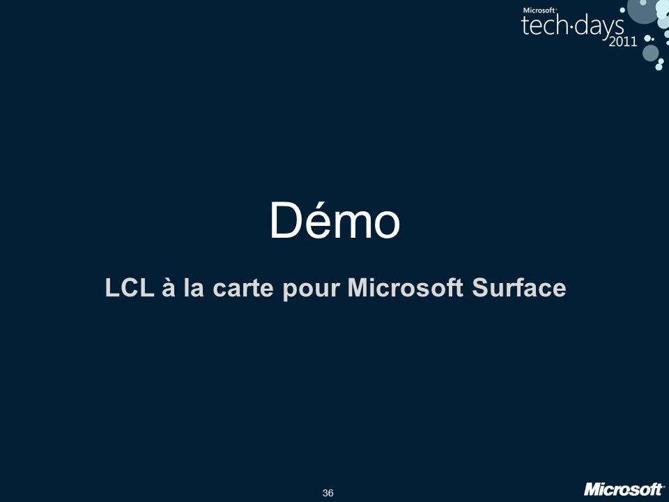 36 Démo LCL à la carte pour Microsoft Surface