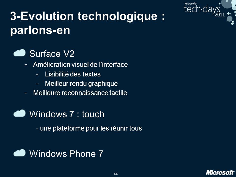 44 3-Evolution technologique : parlons-en Surface V2 - Amélioration visuel de linterface - Lisibilité des textes - Meilleur rendu graphique - Meilleure reconnaissance tactile Windows 7 : touch - une plateforme pour les réunir tous Windows Phone 7