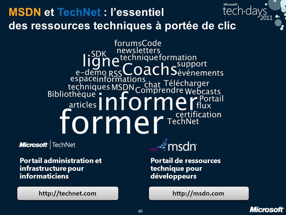46 MSDN et TechNet : lessentiel des ressources techniques à portée de clic http://technet.com http://msdn.com Portail administration et infrastructure pour informaticiens Portail de ressources technique pour développeurs