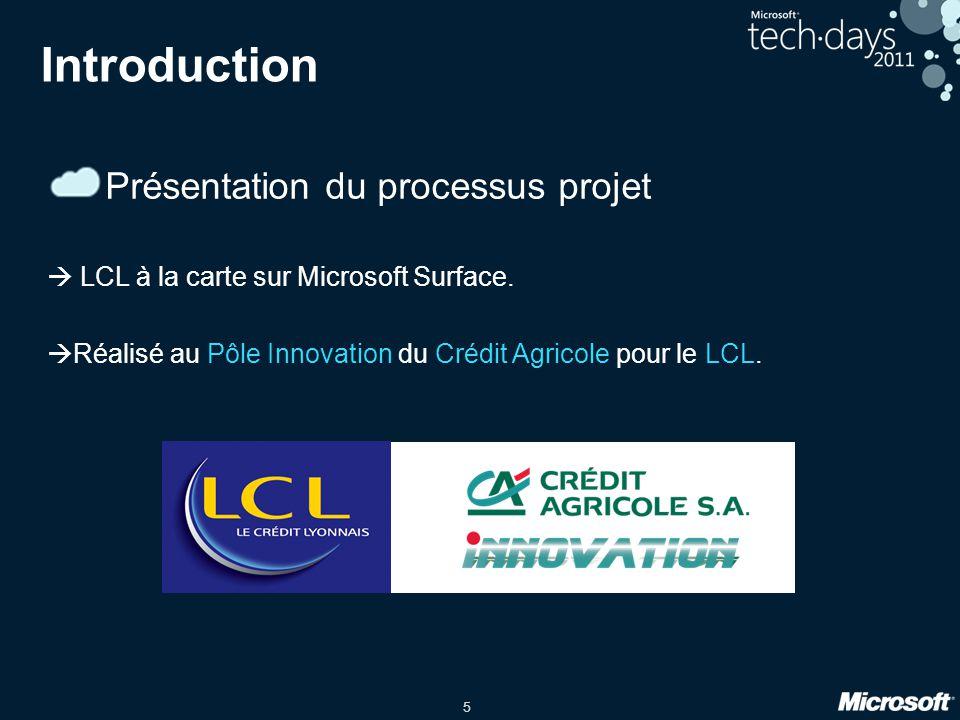 5 Introduction Présentation du processus projet LCL à la carte sur Microsoft Surface.