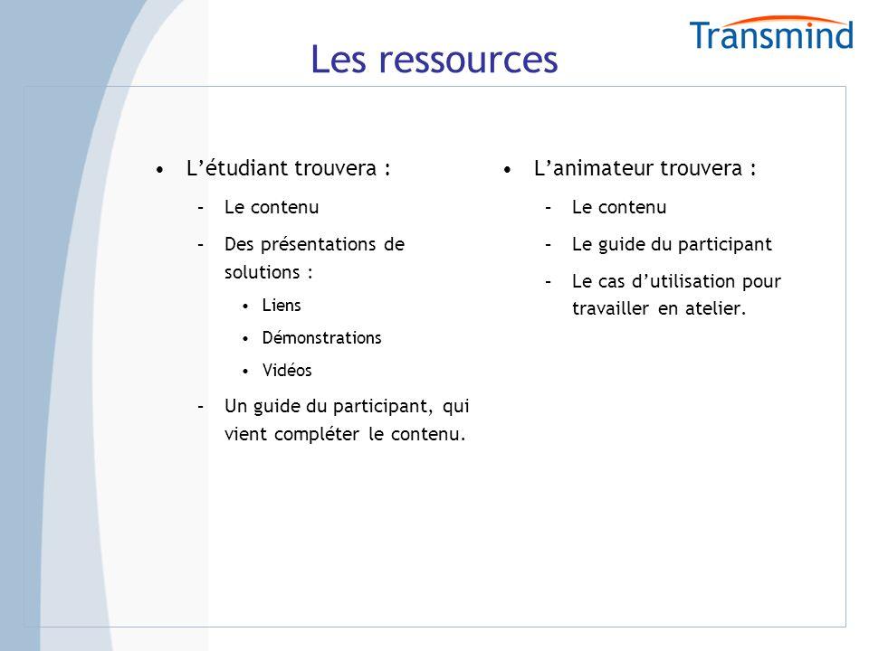Les ressources Létudiant trouvera : –Le contenu –Des présentations de solutions : Liens Démonstrations Vidéos –Un guide du participant, qui vient compléter le contenu.