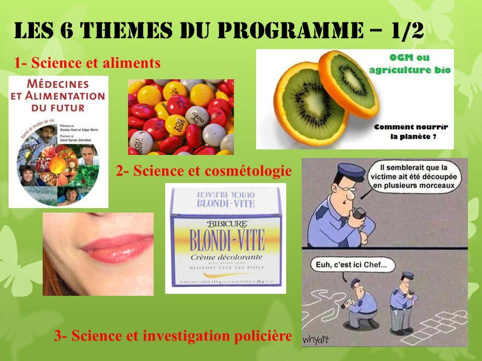 LES 6 THEMES DU PROGRAMME – 1/2 1- Science et aliments 2- Science et cosmétologie 3- Science et investigation policière