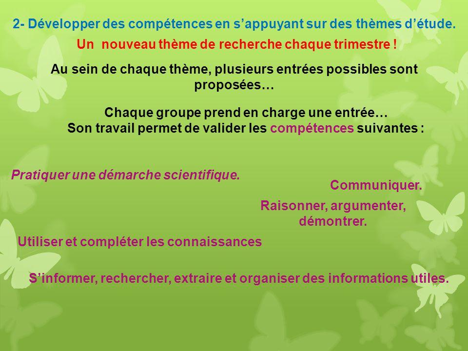 Les Thèmes Choisis A vauban En 2013 -2014 Sciences et vision du monde (1 er T) Sciences et prévention des risques dorigine humaine (1 er T) Science et investigation policière (3 ème T)