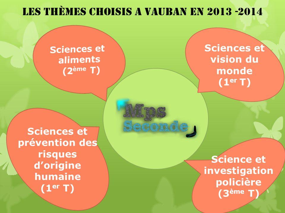 Les Thèmes Choisis A vauban En 2013 -2014 Sciences et vision du monde (1 er T) Sciences et prévention des risques dorigine humaine (1 er T) Science et