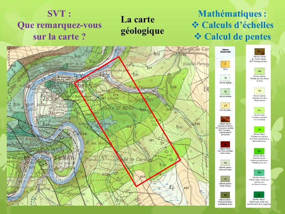 La carte géologique Mathématiques : Calculs déchelles Calcul de pentes SVT : Que remarquez-vous sur la carte ?