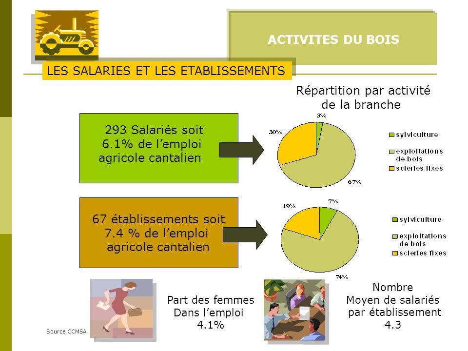 ACTIVITES DU BOIS Source CCMSA 293 Salariés soit 6.1% de lemploi agricole cantalien Part des femmes Dans lemploi 4.1% 67 établissements soit 7.4 % de