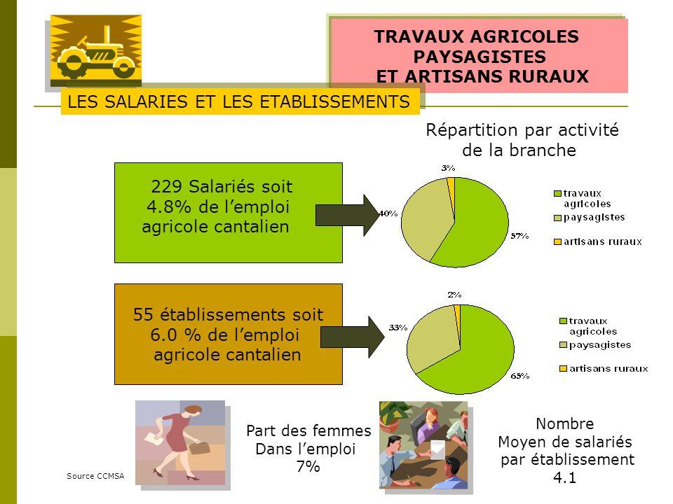 TRAVAUX AGRICOLES PAYSAGISTES ET ARTISANS RURAUX Source CCMSA 229 Salariés soit 4.8% de lemploi agricole cantalien Part des femmes Dans lemploi 7% 55