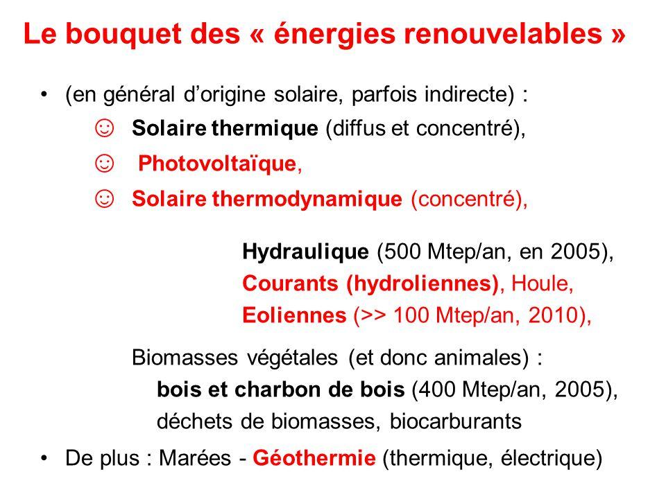 Le bouquet des « énergies renouvelables » (en général dorigine solaire, parfois indirecte) : Solaire thermique (diffus et concentré), Photovoltaïque, Solaire thermodynamique (concentré), Hydraulique (500 Mtep/an, en 2005), Courants (hydroliennes), Houle, Eoliennes (>> 100 Mtep/an, 2010), Biomasses végétales (et donc animales) : bois et charbon de bois (400 Mtep/an, 2005), déchets de biomasses, biocarburants De plus : Marées - Géothermie (thermique, électrique)