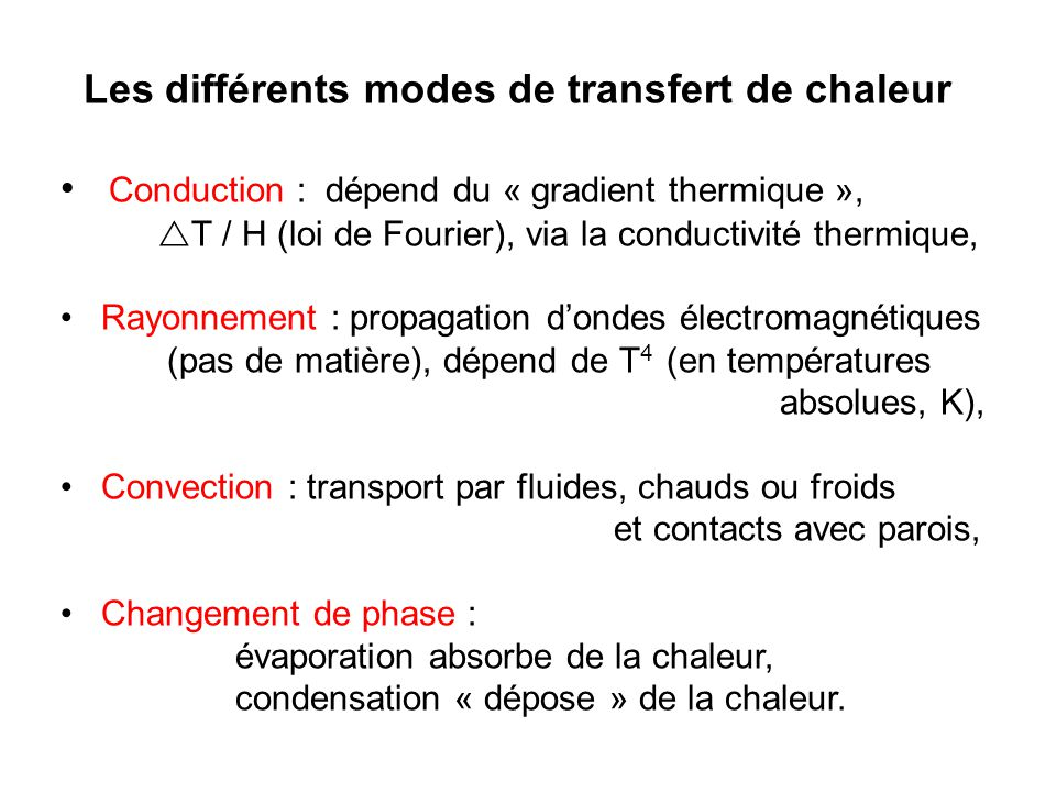 Les différents modes de transfert de chaleur Conduction : dépend du « gradient thermique », T / H (loi de Fourier), via la conductivité thermique, Rayonnement : propagation dondes électromagnétiques (pas de matière), dépend de T 4 (en températures absolues, K), Convection : transport par fluides, chauds ou froids et contacts avec parois, Changement de phase : évaporation absorbe de la chaleur, condensation « dépose » de la chaleur.