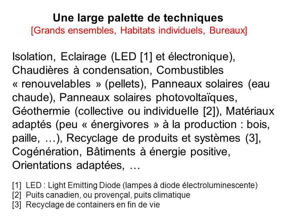 Une large palette de techniques [Grands ensembles, Habitats individuels, Bureaux] Isolation, Eclairage (LED [1] et électronique), Chaudières à condensation, Combustibles « renouvelables » (pellets), Panneaux solaires (eau chaude), Panneaux solaires photovoltaïques, Géothermie (collective ou individuelle [2]), Matériaux adaptés (peu « énergivores » à la production : bois, paille, …), Recyclage de produits et systèmes (3], Cogénération, Bâtiments à énergie positive, Orientations adaptées, … [1] LED : Light Emitting Diode (lampes à diode électroluminescente) [2] Puits canadien, ou provençal, puits climatique [3] Recyclage de containers en fin de vie